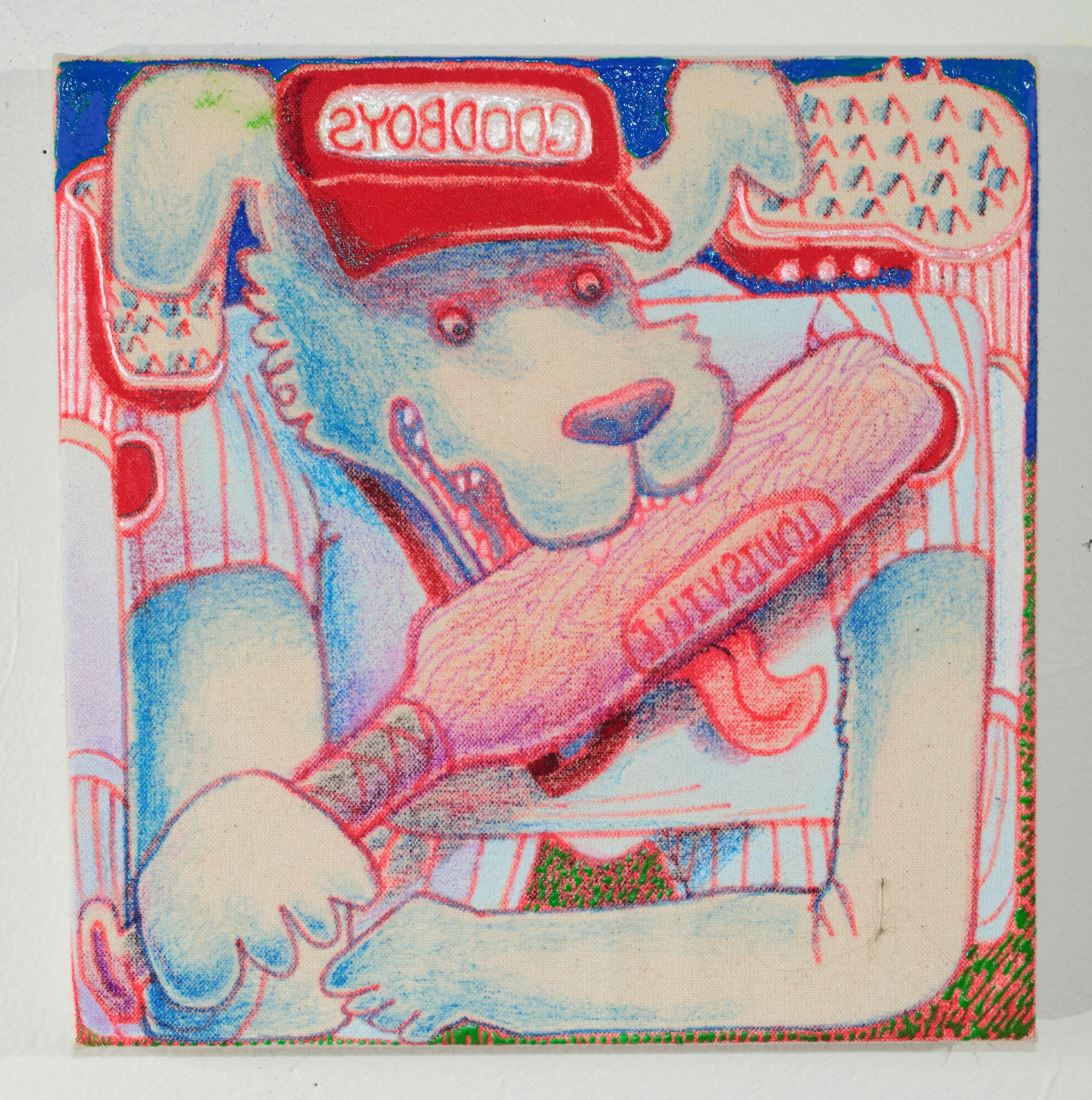 "Mark Zubrovich, ""Stick Lick"", Acrylic fabric paint and gel pen on canvas, 10 x 10 inches, 2018"